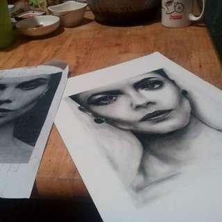 Cara Delevigne Charcoal Portrait