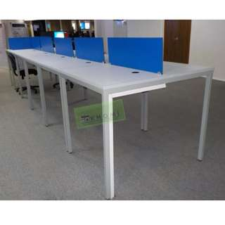 Linear Workstation - blue screen panel office furniture