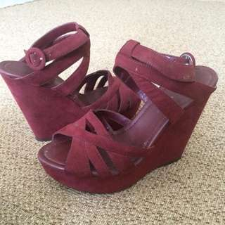 RM 49 | Suede Maroon Wedges | Worn once | Charles & keith | size 36