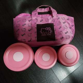 Hello kitty food warmer bag and 3 stainless steel tupperware