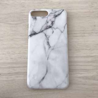 IPhone 7/8 Plus Silicone Case GLOSSY BLACK AND WHITE MARBLE