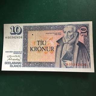 冰島早期紙鈔,全新直版,#112