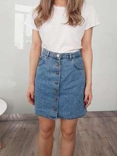 ASOS button up denim skirt size 8