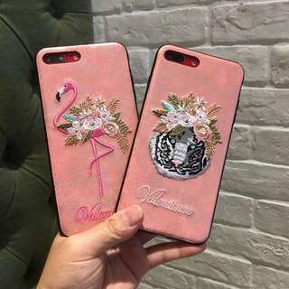 Casing Handphone - Embroidery Flamingo and Tiger Head