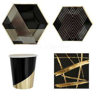 * Black Hexagon With Gold Stripes Party Serveware Package ( 8 X 7″ Small Plates, 8 X 9″ Large Plates, 8 X Cups, 20 X Napkins)