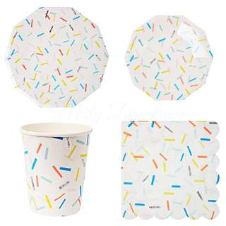 * Colourful Sprinkles Party Serveware Package ( 12 x 7″ Small plates, 12 x 9″ Large plates, 12 x cups, 20 x napkins)