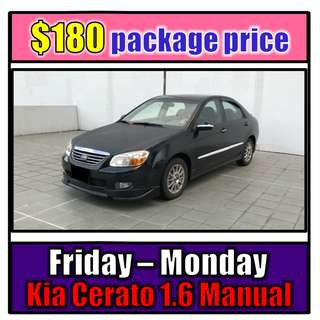 Fri to Mon Car Rental Kia Cerato 1.6 Manual (3-Day Weekend Package)