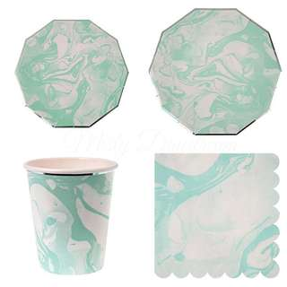 Marble Mint Party Serveware Package ( 8 X 7″ Small Plates, 8 X 9″ Large Plates, 8 X Cups, 20 X Napkins)