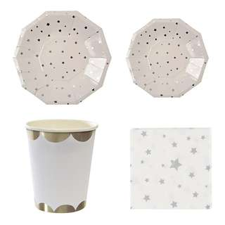 Shiny Silver Stars Party Serveware Package ( 8 X 7″ Small Plates, 8 X 9″ Large Plates, 8 X Cups, 20 X Napkins)