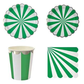 Stripes Green Party Serveware Package ( 8 X 7″ Small Plates, 8 X 9″ Large Plates, 8 X Cups, 20 X Napkins)