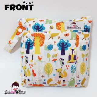 Multipurpose Double Zip small Wetbag   Clutch   Pouch - Hoot