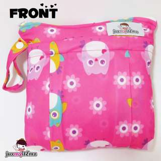 Multipurpose Double Zip small Wetbag | Clutch | Pouch - Pink Owl