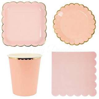 Pastel Pink Party Serveware Package ( 8 x 7″ Small plates, 8 x 9″ Large plates, 8 x cups, 20 x napkins)