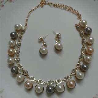 Pearl Beads Necklace Earrings Set