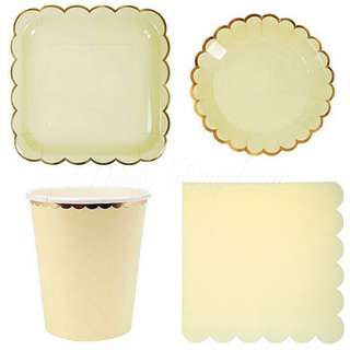 Pastel Yellow Party Serveware Package ( 8 x 7″ Small plates, 8 x 9″ Large plates, 8 x cups, 20 x napkins)