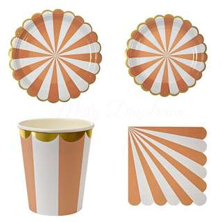 Stripes Orange Party Serveware Package ( 8 X 7″ Small Plates, 8 X 9″ Large Plates, 8 X Cups, 20 X Napkins)