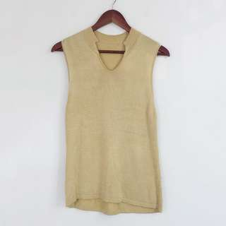 Gold Sleeveless Knitted Blouse Top