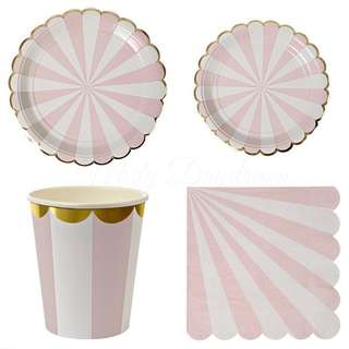 Stripes Pink Party Serveware Package ( 8 X 7″ Small Plates, 8 X 9″ Large Plates, 8 X Cups, 20 X Napkins)