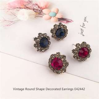 Vintage Round Shape Decorated Earrings E42442