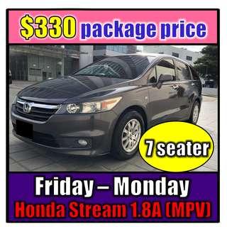 Honda Stream 1.8A Fri to Mon Car Rental (3-Day Weekend Package)