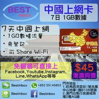 ⛹🏄🚶🏃🎽🚵🏅🏑🏆🏎🏊🏎神卡!中國7天1GB上網卡 4G 3G 高速上網~ 即插即用~ 可上Facebook,Youtube,Line,Instagram等等