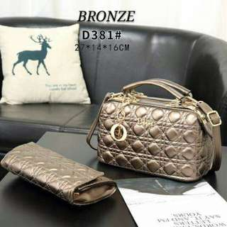 Dior Satchel Bag 2 in 1 with Clutch Bronze Color