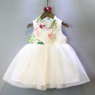 CS059 Toddler Girls Tulle Cheongsam Dress Traditional Chinese Qipao