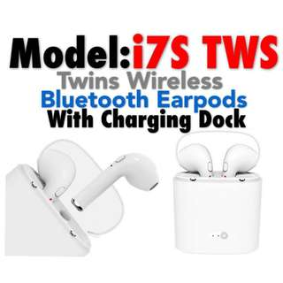 TWS i7S (Double Side) Twins Wireless Bluetooth Earpods With Charging Dock