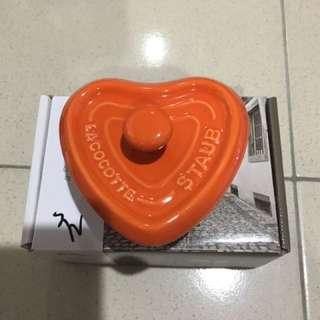 🚚 心型橘色陶缽