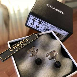 Authentic Chanel Black Crystal CC Logo Earrings