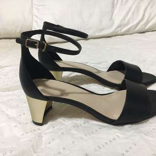 Charles and Keith Curved Gold Heel Black Sandals