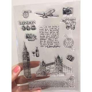 矽膠印章 透明印章  英國倫敦組合 手帳愛用