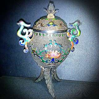 Exquisitely Carved Phoenix Silver & Enamel Incense Holder+Burner. Old Artisan Craftsmanship. 11 cm.