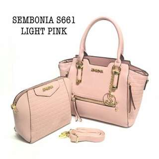 Sembonia Tote Bag 2 in 1 Light Pink