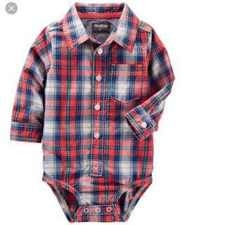 BN Oshkosh Bgosh Baby Boy Red Plaid Romper 9mths & 12mths available!