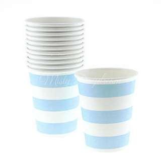 Classic Stripe Cups Value Pack (Set of 12) – Light Blue