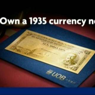 Selling UOB 1935 Straits Settlement Limited Edition Gold Foil Note