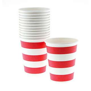 Classic Stripe Cups Value Pack (Set of 12) – Red