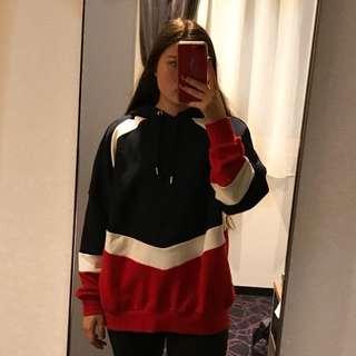 oversized hoodie - navy/red/white
