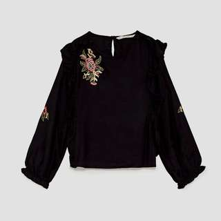 BNWT Zara Embroidered Blouse With Ruffles Trims
