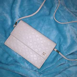 CLN White Faux Leather Sling Bag