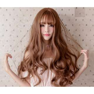 Korean Air Fringe Full Curly Wig With Scalp (Light Brown/Chocolate Brown)