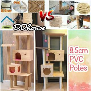 [Instock] PVC pole Solid Wood Cat Tree / Cat Condo / Cat Climber / Cat Tower