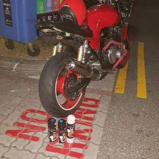 Samurai spray paint cans