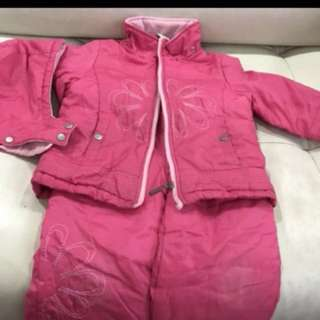 Winter ski jacket, pants, gloves, hood