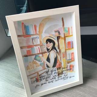 13cm x 18cm watercolor with quote - with frame