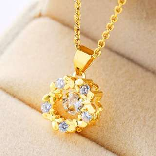 18k gold plated with white crystal necklace