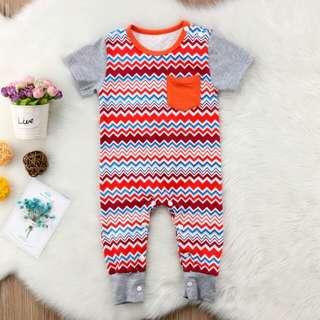 Newborn Baby Boy Girl Boho Short Sleeves Jumpsuit 🍀