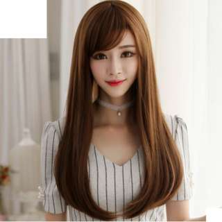Korean Side Fringe Full Wig For Daily Use (Natural Black/Chocolate Brown/Light Brown)