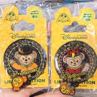 Hkdl duffy Sheillimay halloween Pin 一對